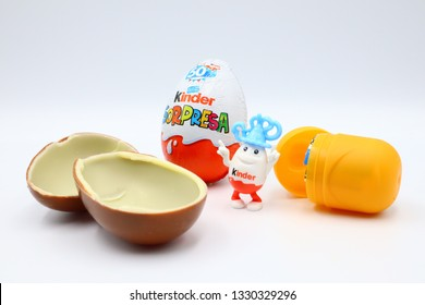 Pescara, Italy – March 5, 2019: Kinder Surprise Chocolate Eggs. Kinder Surprise is a brand of products made in Italy by Ferrero