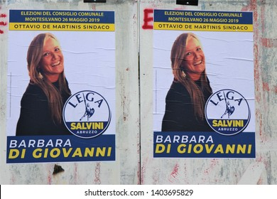 Pescara, Italy - May 2019. Electoral billboard ahead of the elections for the European parliament. Italian  propaganda for Matteo Salvini's party, Lega.