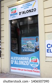 "Pescara, Italy - May 2019. Seat of the electoral committee of the ""Forza Italia"" party, for the election of the mayor of the city of Pescara."