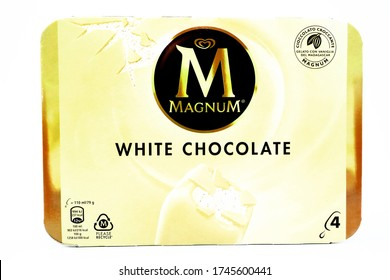 Pescara, Italy - May 31, 2020: MAGNUM White Chocolate Ice Cream produced by Unilever