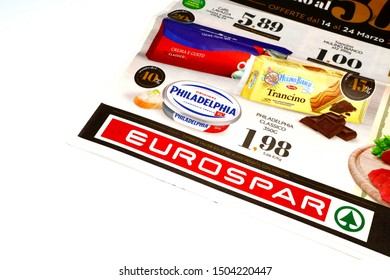 Pescara, Italy – September 14, 2019: Weekly Ad Flyer of EUROSPAR Supermarket
