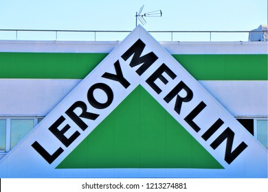 """Pescara, Italy - Signboard of the famous furniture store """"Leroy Merlin""""."""