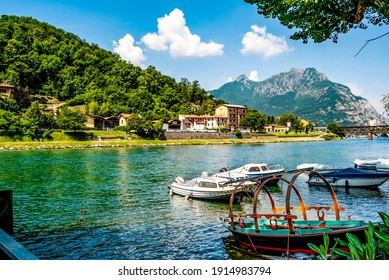 Pescarenico, a district of Lecco, once a fishing village, on the left side of the river Adda, quoted in Alessandro Manzoni's novel The Betrothed, with moored boats, Lecco, Lombardia, northern Italy