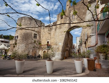 PESCHICI, ITALY - APRIL 29, 2018 - Peschici is a little picturesque village in Puglia, south Italy. Its territory belongs to the Gargano National Park.