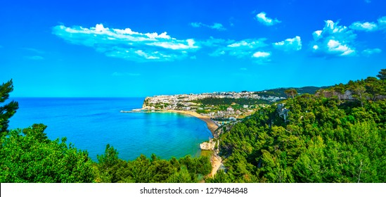 Peschici white village and beach, Gargano peninsula, Apulia, southern Italy, Europe.