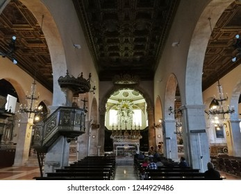 Pescocostanzo, L'Aquila, Abruzzo, Italy - September 1, 2018: Interior of the Church of Jesus and Mary during Sunday Mass