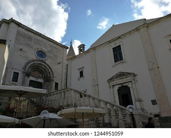 Pescocostanzo, L'Aquila, Abruzzo, Italy - September 1, 2018: Basilica of Santa Maria del Colle and Church of Santa Maria del Suffragio in the heart of the historic center