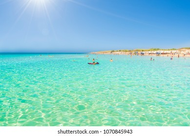 Pescoluse, the Maldives of salento beach, Puglia, Italy.