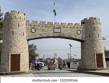 Peshawar, Khyber Pakhtunkhwa, Pakistan, 22 February 2019- Bab-e-Khyber is a landmark at the end of Khyber Pass