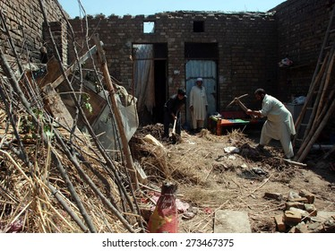 PESHAWAR, PAKISTAN - APR 28:  Views of destruction after heavy windstorm and rain on April 28, 2015 in Peshawar. At least 25 persons killed and more than 160 injured
