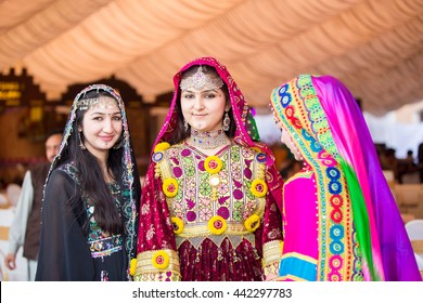 PESHAWAR, PAKISTAN - AUG 16: model in Pushtu cultural Dress,  The two-day event Cuisine and Culture Festival, was organised by TCKP , on 16 AUG, 2015 Peshawar Garrison Service club.