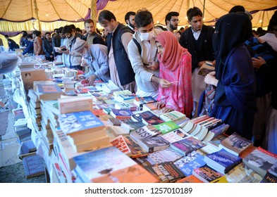 PESHAWAR PAKISTAN - DEC 12: Students take keen interest at a stall during Students Festival 2018 held at Islamia College on December 12, 2018 in Peshawar.