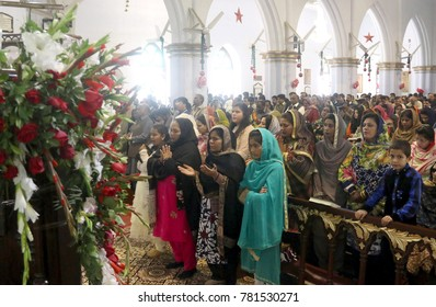 PESHAWAR, PAKISTAN - DEC 25: Christian people are offering special services at St. Johns Cathedral on December 25, 2017 in Peshawar.