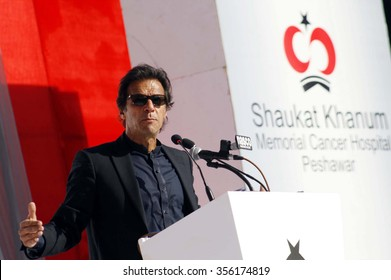 PESHAWAR, PAKISTAN - DEC 29: PTI Chairman, Imran Khan addresses during Inauguration Ceremony of Shaukat Khanum Memorial Cancer Hospital and Research Centre on December 29, 2015 in Peshawar.