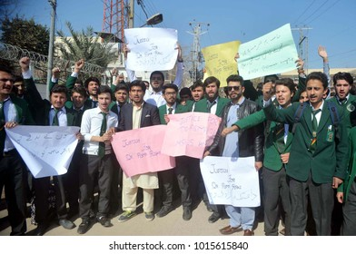 PESHAWAR, PAKISTAN - FEB 01: Students of private college are holding protest demonstration justice for Dr. Asma Marwat, at press club on  February 01, 2018 in Peshawar.