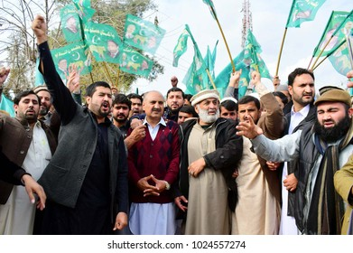 PESHAWAR, PAKISTAN - FEB 13: Leaders and activists of ML-N are showing their zeal to celebrate victory of their party in By-Election the constituency of NA-154 on February 13, 2018 in Peshawar