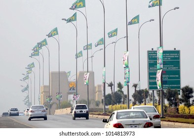 PESHAWAR, PAKISTAN - JAN 31: Greeting banners and flags of Muslim League (PML-N) hosted in city regarding public gathering meeting  on January 31, 2018 in Peshawar.