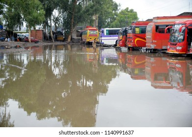 PESHAWAR, PAKISTAN - JUL 23: Stagnant rainwater after heavy downpour of which is creating problems for commuters showing the negligence of concerned department on July 23, 2018 in Peshawar.