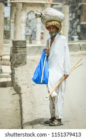 Peshawar, Pakistan - June 04, 2018: Old Poor Man in Traditional Dress