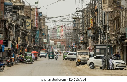 Peshawar, Pakistan - June 08, 2018: View of the Empty Street in Ramadan