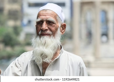 Peshawar, Pakistan - June 09, 2018: Old Pakistanian Man with White Beard of the Street