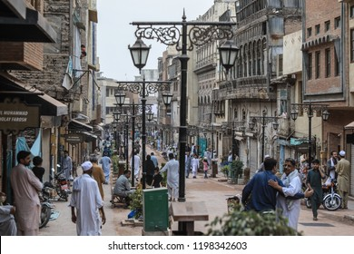 Peshawar, Pakistan - June 09, 2018: Daily Life of the Pakistanian Families on the Street