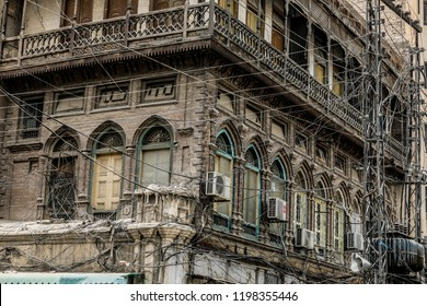 Peshawar, Pakistan - June 09, 2018: Old Gothic balcony on the Streets