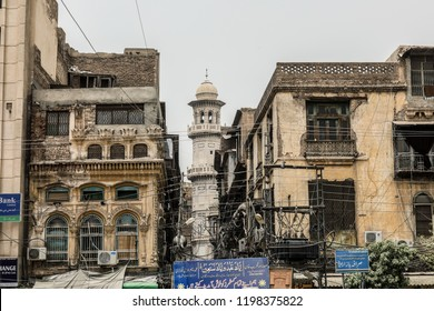 Peshawar, Pakistan - June 09, 2018: Old Gothic Mosque view on the Streets