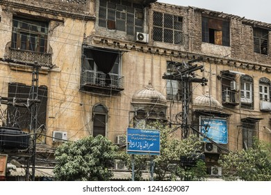Peshawar, Pakistan - June 10, 2018: Old Balcony of Peshawar Streets