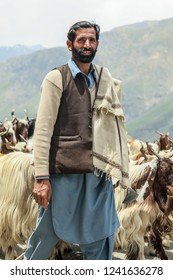 Peshawar, Pakistan - June 10, 2018: Local shepherd tending herd of sheep