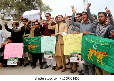 PESHAWAR, PAKISTAN - MAR 14: Members of Muslim Student Federation Nawaz (MSF-N) are holding protest demonstration in favor of Former Prime Minister, Nawaz Sharif on March 14, 2019 in Peshawar.