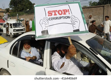 PESHAWAR, PAKISTAN - MAY 06: Activists of Tehreek-e-Insaf and PTI members of  Provincial Assembly are holding anti corruption rally passing through the road, on May 06, 2016 in Peshawar.