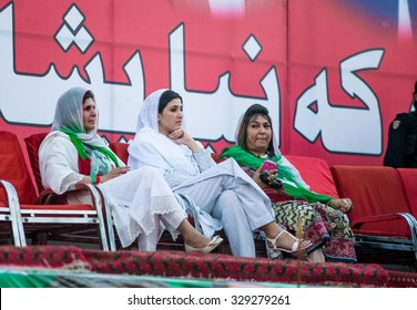 PESHAWAR, PAKISTAN - May 27, 2015: Tehreek-e-Insaf (PTI) Chairman, Imran Khan addresses to public meeting held at Shahi Bagh in Peshawar.