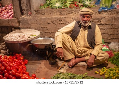PESHAWAR, PAKISTAN - Sept 27 ,2017:  vegetable selling is posing for picture 27 Sept, 2017 Peshawar