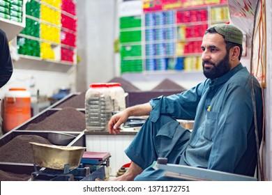 PESHAWAR, PAKISTAN - Sept 27 ,2018:  local tea vendor is locning for cutomers 27 Sept, 2018 qissa khwani Peshawar