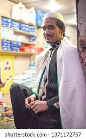 PESHAWAR, PAKISTAN - Sept 27 ,2018:  shop boy is posing for picture 27 Sept, 2018 qissa khwani Peshawar