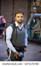 PESHAWAR, PAKISTAN - Sept 27 ,2018:  photographer is posing for picture 27 Sept, 2018 qissa khwani Peshawar