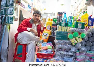PESHAWAR, PAKISTAN - Sept 27 ,2018:  local shop keeper is posing for picture 27 Sept, 2018 qissa khwani Peshawar