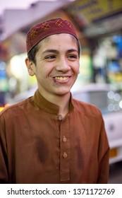 PESHAWAR, PAKISTAN - Sept 27 ,2018:  teen boy is smiling in camera  27 Sept, 2018 qissa khwani Peshawar