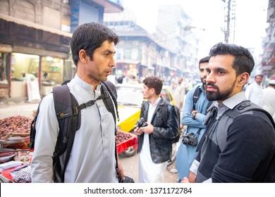 PESHAWAR, PAKISTAN - Sept 27 ,2018:  group of photographer are talking with eash others 27 Sept, 2018 qissa khwani Peshawar