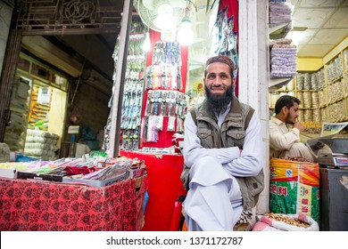 PESHAWAR, PAKISTAN - Sept 27 ,2018:  watch vendor is smiling camera 27 Sept, 2018 qissa khwani Peshawar