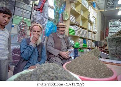 PESHAWAR, PAKISTAN - Sept 27 ,2018:  senior citizen are busing shop work 27 Sept, 2018 qissa khwani Peshawar