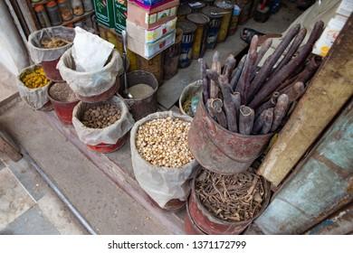 PESHAWAR, PAKISTAN - Sept 27 ,2018:  local herb shop 27 Sept, 2018 qissa khwani Peshawar