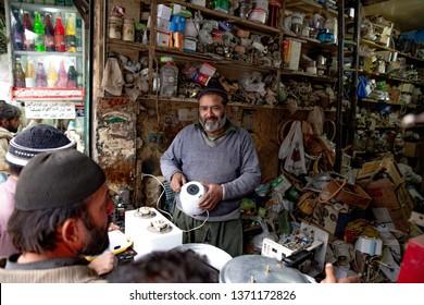 PESHAWAR, PAKISTAN - Sept 27 ,2018:  local electric technician in his shop  27 Sept, 2018 qissa khwani Peshawar