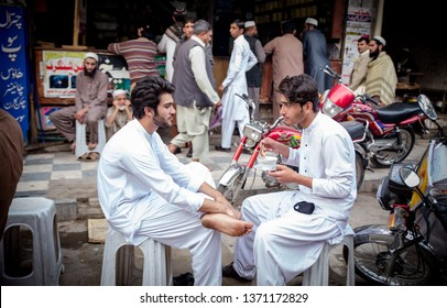 PESHAWAR, PAKISTAN - Sept 27 ,2018:  local young mans are talking with each other 27 Sept, 2018 qissa khwani Peshawar