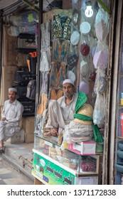 PESHAWAR, PAKISTAN - Sept 27 ,2018:  local custom cap making  27 Sept, 2018 qissa khwani Peshawar