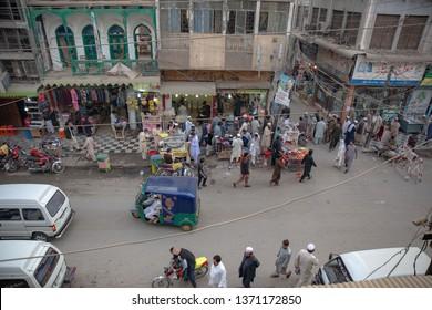 PESHAWAR, PAKISTAN - Sept 27 ,2018:  bird eye veiw of book making market , jangi mohala 27 Sept, 2018 qissa khwani Peshawar