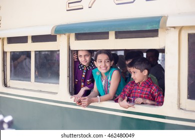 PESHAWAR, PAKISTAN - Sept 27: A Childs enjoying a journey in train, in happy mode , on 27 Sept, 2015 Peshawar