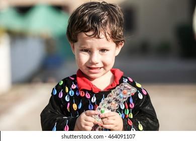PESHAWAR, PAKISTAN - Sept 27: cute afghan Girl in Torkham border of pakistan (editorail only), on 27 Sept, 2015 Peshawar