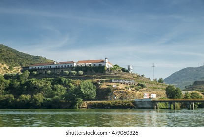 Peso da Régua, Portugal - 4 August 2016 : Walk in a ship in the river gild to see the landscape, margins of the river gild in Peso da Régua, Portugal, 4 August of 2016